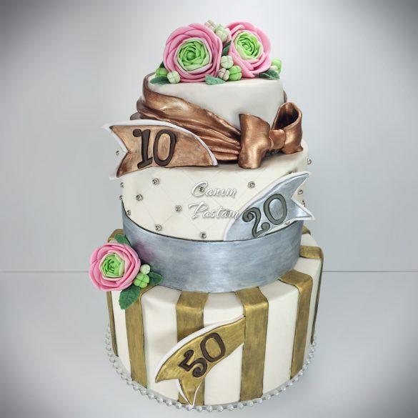 Ranunculus Cake Düğün çiçeği pastası